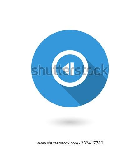 Back track web icon.Media player. Flat design - stock vector