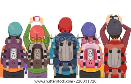 Back View Illustration Featuring a Group of Hikers Taking Photographs - stock vector