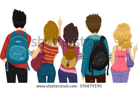Back View Illustration of College Students on Their Way to School - stock vector