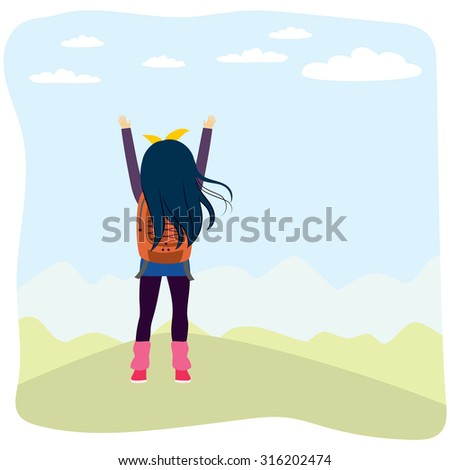 Back view illustration of girl with arms up enjoying looking nature scenery from top of mountain - stock vector