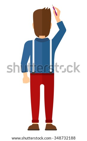 Back view of man drawing on the wall vector flat design illustration isolated on white background. Vertical layout. - stock vector