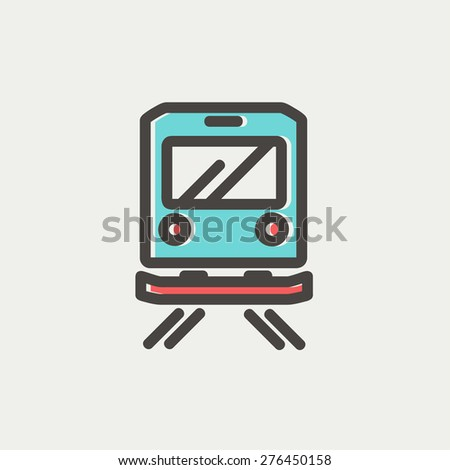 Back view of the train icon thin line for web and mobile, modern minimalistic flat design. Vector icon with dark grey outline and offset colour on light grey background. - stock vector