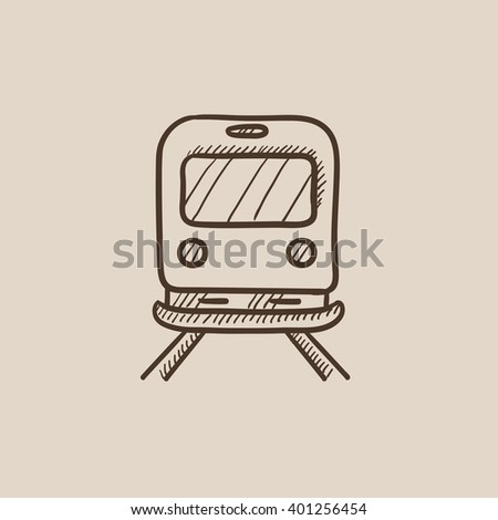 Back view of train sketch icon. - stock vector
