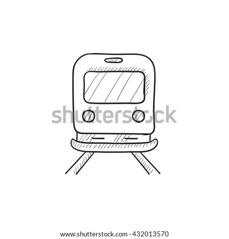 Back view of train vector sketch icon isolated on background. Hand drawn Back view of train icon. Back view of train sketch icon for infographic, website or app. - stock vector