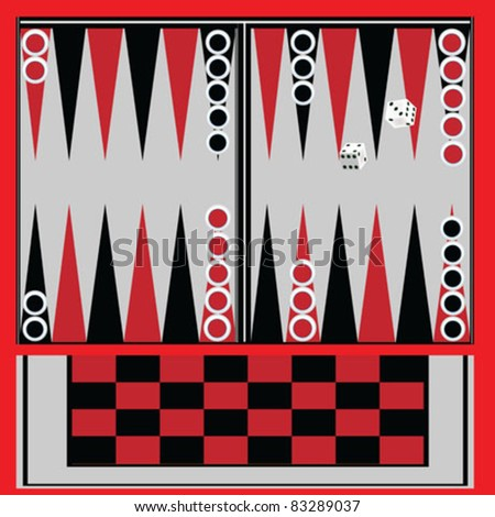 Backgammon table with black and red - stock vector