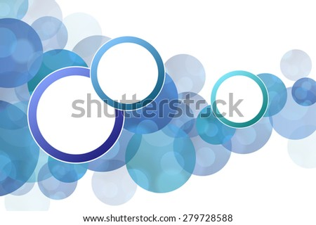 Background abstract blue circles with round frame vector - stock vector