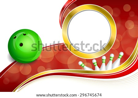 Background abstract red bowling green ball gold frame illustration vector - stock vector
