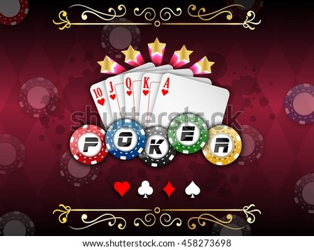 Background abstract red with playing cards with poker chips.Vector