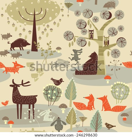 background and beasts - stock vector