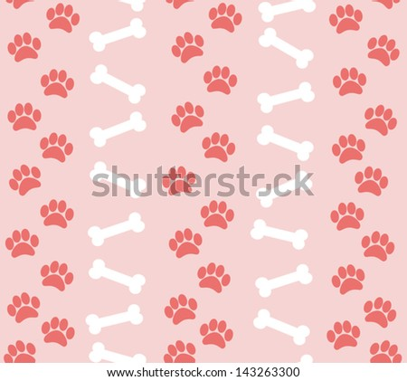 background animal footprints and bones. vector illustration - stock vector