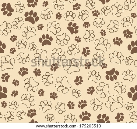 background animal footprints. vector seamless print  - stock vector