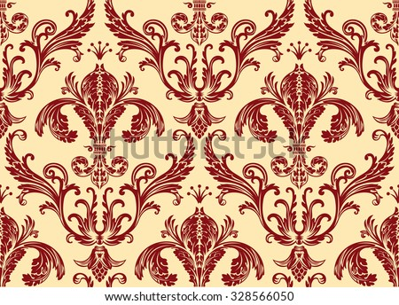 Background antique seamless wallpaper. Red decor vintage - stock vector