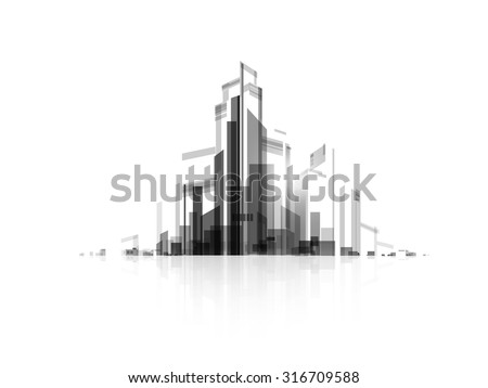 Background architectural vector with drawings of modern city - stock vector