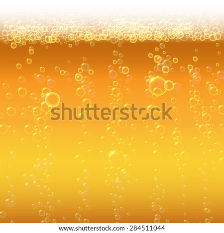 Background beer with foam and bubbles. - stock vector