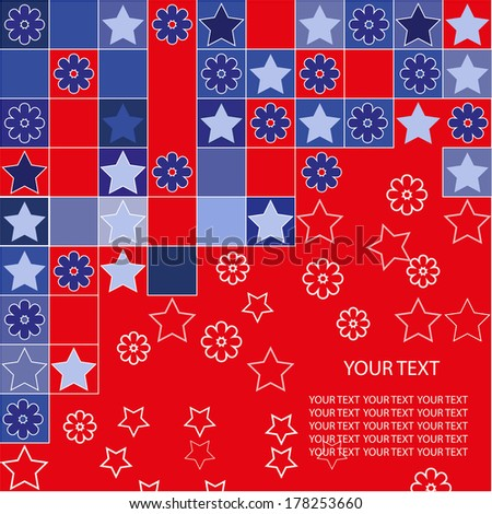 background blue red flowers star squares text - stock vector