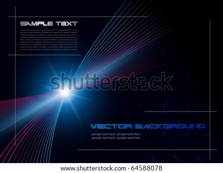 Background blue star, technology vector - stock vector