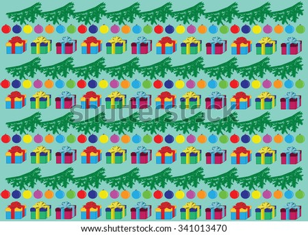 Background: branch, balloons, gifts. - stock vector