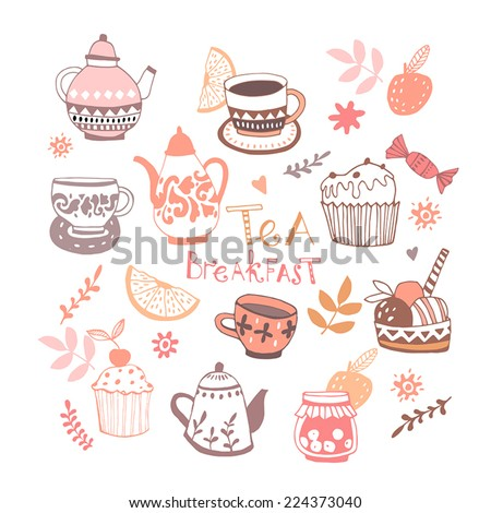 Background Breakfast Poster. Vector illustration. Breakfast, tea, piece of cupcake and fruits.  - stock vector