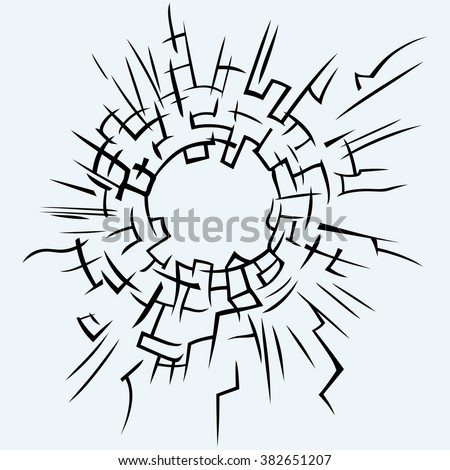 Background broken glass. Isolated on blue background. Vector silhouettes