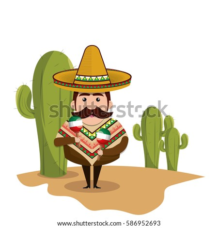 background Cactus with man mexican and traditional outfit