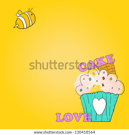 background cake and bee vector - stock vector