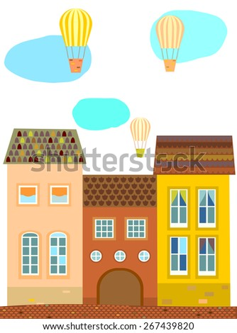 Background, card, poster with old houses with tiled roof, balloons  ribbon , clouds. Vector. - stock vector