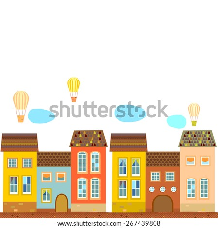 Background, card, poster with old houses with tiled roof, & balloons . Vector. - stock vector
