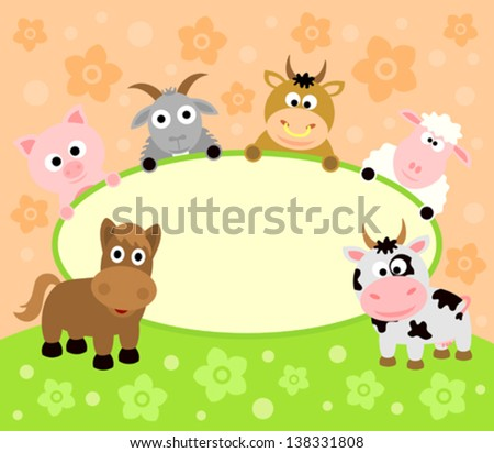Background card with funny animals - stock vector