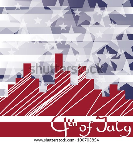background cityscape with fireworks and  scribed Fourth of July. No fonts were used. - stock vector
