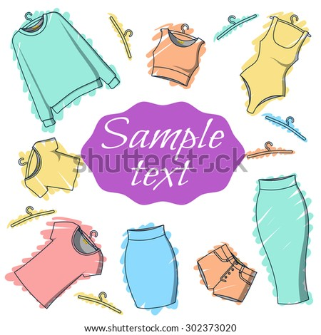 Background clothes for design of printed materials. Postcard with clothes. Clothing for watercolor. Sketch clothes. Vector - stock vector