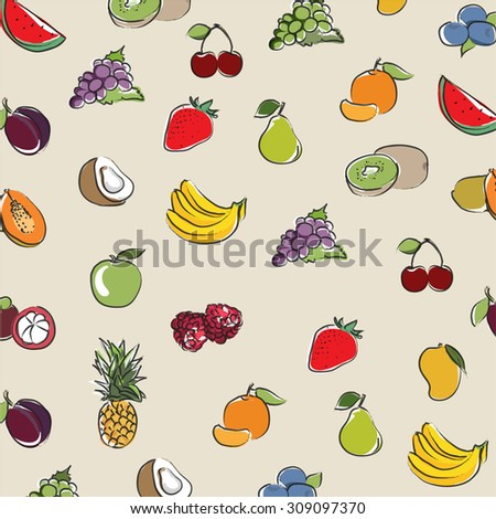 background Collection Fruits icons vector design