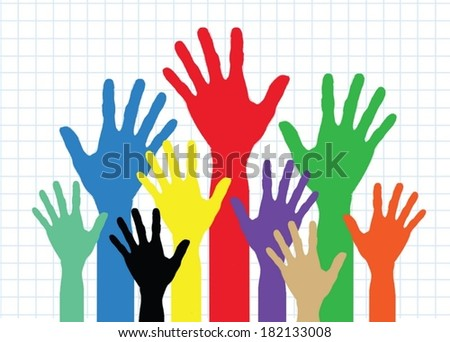 Background colorful silhouette hands design - stock vector