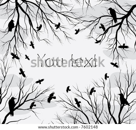 background composed of branchs & circle crow - stock vector