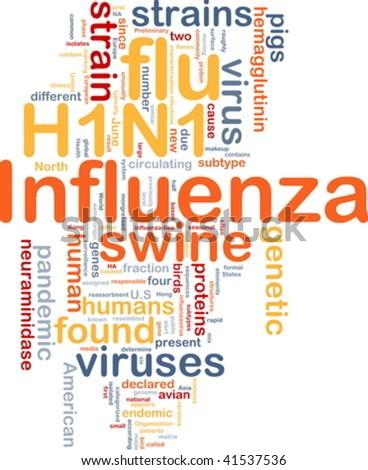 Background concept illustration of H1N1 Influenza swine flu - stock vector