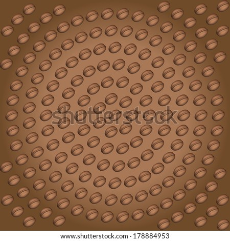Background concept of Realistic Coffee beans. Vector Illustration, isolated.