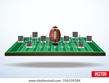 Background concept participants playing american football. In three-dimensional space. Vector illustration. - stock vector
