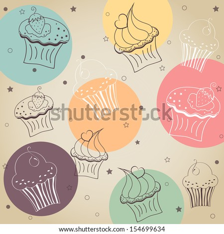 Background creamy cupcake vector set. Vector illustration - stock vector
