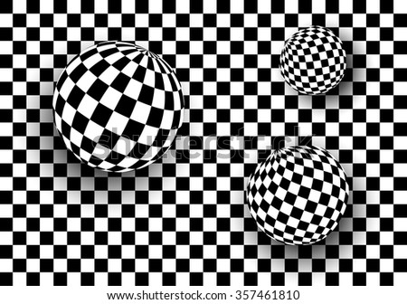 Background 3d black and white, checkered spheres, vector illustration - stock vector