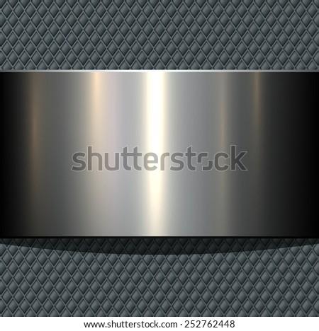 Background 3d metallic banner on seamless grey pattern, vector illustration. - stock vector