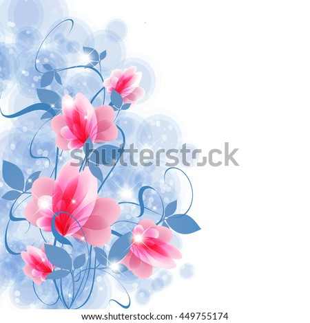 Background decorated with fancy pink flowers and branches with leaves