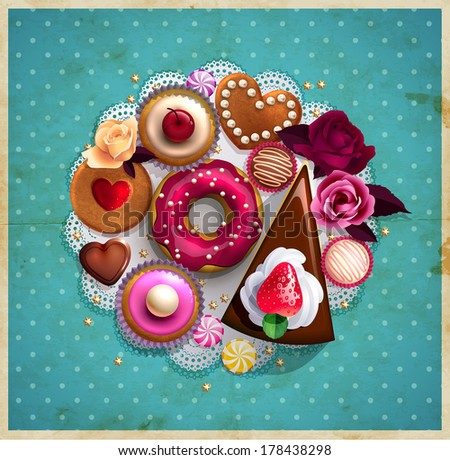 Background decorated with sweets, cupcakes, cookies roses, doughnut, cakes, chocolate,and golden stars for posters, invitations and postcards.  - stock vector