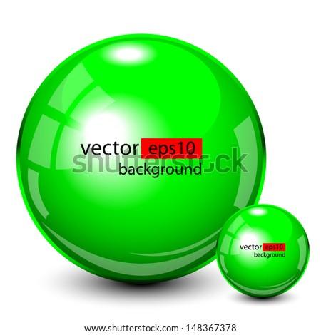 Background design, 3d green spheres, vector - stock vector