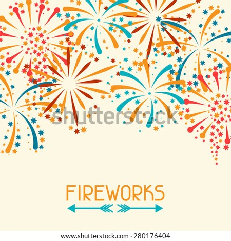 Background design with abstract fireworks and salute. - stock vector