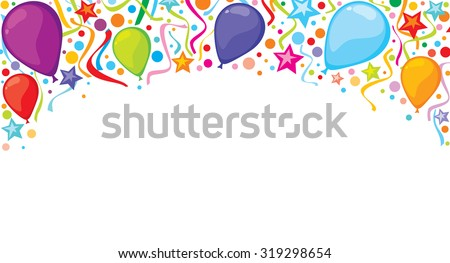 background design with party streamers, balloons and confetti (festive design, celebration background) - stock vector