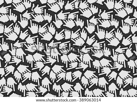 Background design with repetition of pixelated digital hand with index finger illustration, or web icon for click, as pattern. - stock vector