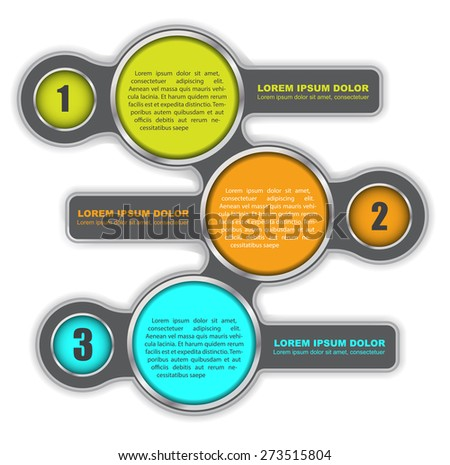 Background diagram with three colored steps and a place for text - stock vector