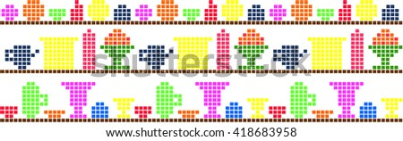 Background dishes on the shelf pixel - stock vector