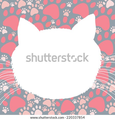 Background drawing with the cat's head - stock vector