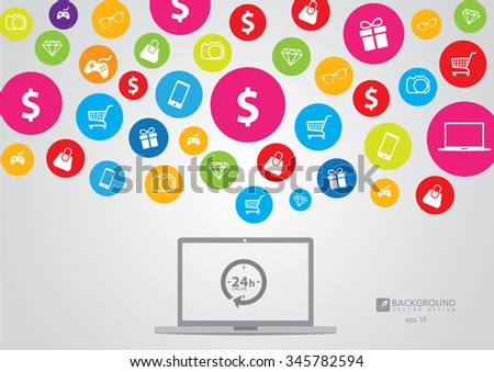 background E-commerce. Business concept. Set icons