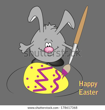 background Easter eggs colored bunny - stock vector